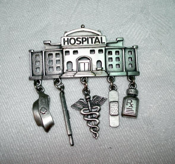 JJ Hospital pin brooch with 5 charms pewter vintage ll1363