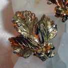 BSK gold tone earrings leaves bow leaf bouquet clip backs vintage jewelry ll1396