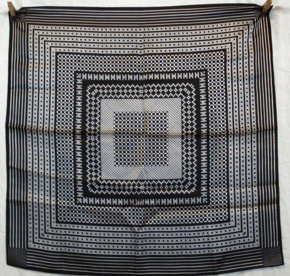 Black white satin scarf unused vintage great design rolled hem  ll1431