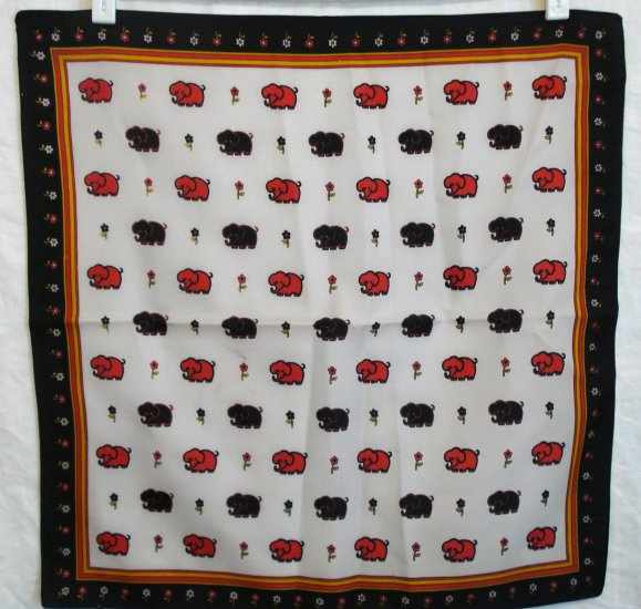 Vintage scarf dotted with elephants and daisies synthetic ll1445
