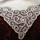 Antique white linen wedding hanky lavish handmade lace ll1447