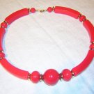 1960s Red plastic beads and bars choker necklace vintage jewelry ll1455