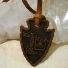 Albuquerque NM copper arrowhead pendant leather cord vintage jewelry ll1468