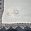 Antique linen hanky whitework eyelets tatted edge ll1476