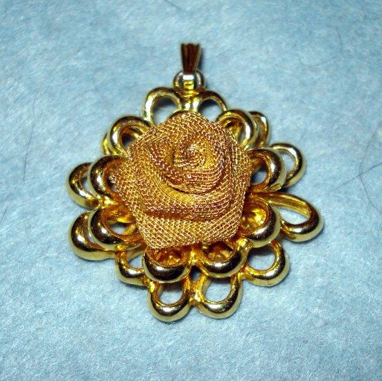 CoroCraft gold mesh rose pendant mid century gold plate vintage jewelry ll1940