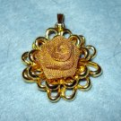 CoroCraft gold mesh rose pendant mid century gold plate vintage jewelry ll1940