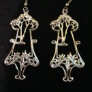 Signed Nuri silver tone tree earrings chandelier style pierced vintage jewelry ll2084