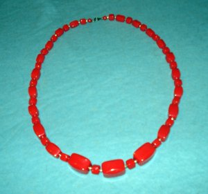 Bright red lucite molded plastic beads gold spacers vintage jewelry ll2088