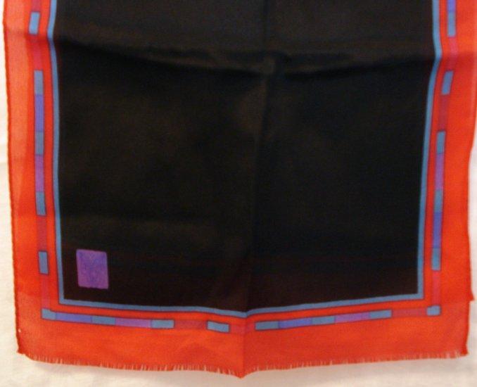 Long silk scarf black with red border self fringe ends vintage scarves ll2129