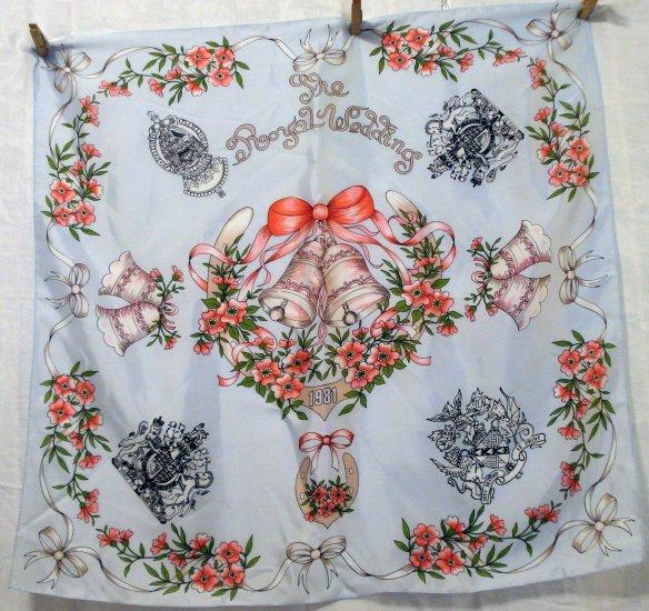 1981 The Royal Wedding souvenir scarf unused acetate vintage scarves ll2135