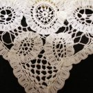 Tiny white linen hanky handmade Battenburg lace antique wedding hankies ll2136