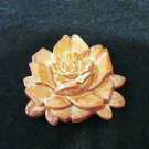 Plastic salmon rose pin brooch made in Italy vintage costume jewelry ll2141
