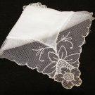 Linen wedding hanky net lace border Antique hankies ll2144
