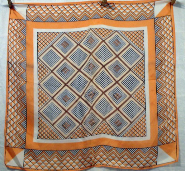 Synthetic peach melon summery scarf window pane check vintage scarves ll2149