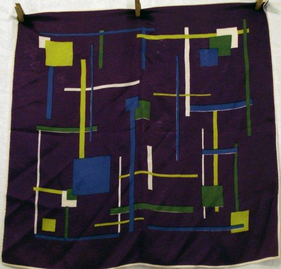 Mondrian style scarf abstract design acetate purple vintage  ll2152