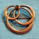 Art Deco 3 intersecting circles pin brooch 1/20th 12k gold filled signed vintage jewelry ll2156