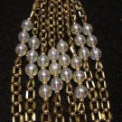 Plastic bead rope necklace round and bugle bead links vintage costume jewelry ll2158