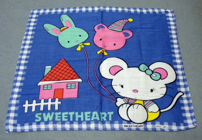 Sweetheart childs cotton hanky mouse balloons house blue vintage hankies ll2161