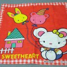 Sweetheart red childs cotton hanky mouse balloons house vintage hankies ll2162