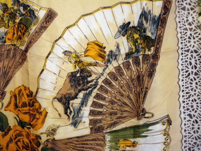 Scenes from bullfight on fans acetate scarf roses fringed antique ll2180