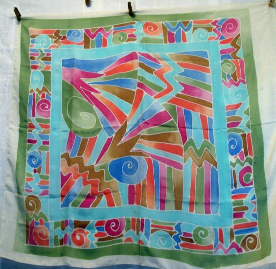 Large silk scarf pastel tropical batik print vintage scarves ll2184