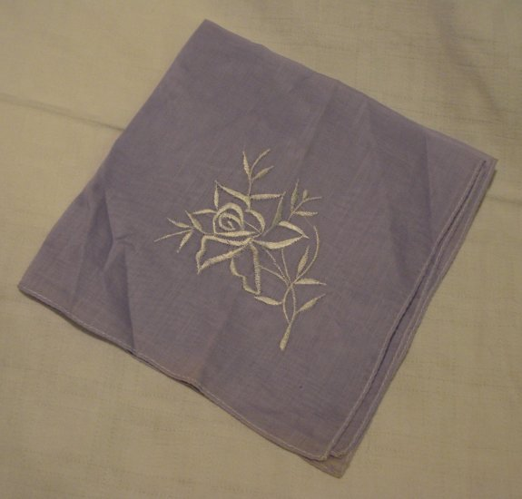 2 Embroidered hankies lavender and blue unused vintage hanky ll2213