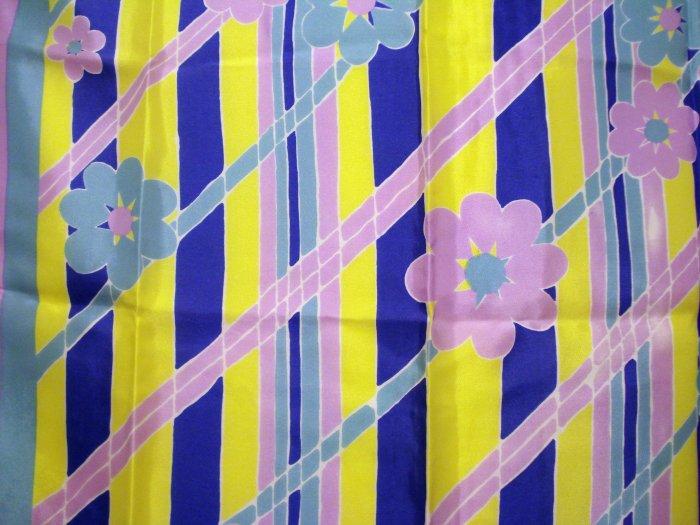 Flower power acetate scarf aqua yellow royal mauve unused vintage scarves ll2225