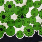 Mod flower power twill scarf green black rolled hem superior vintage ll2233