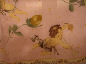 Cupids and roses on pink satin and chiffon vintage silk scarf ll2239