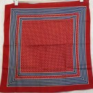Red white blue stripes and polka dots cotton scarf bandana kerchief vintage ll2245
