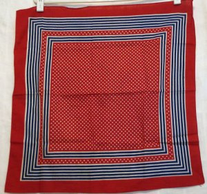 Red white blue stripes and polka dots cotton scarf bandana kerchief vintage ll2245