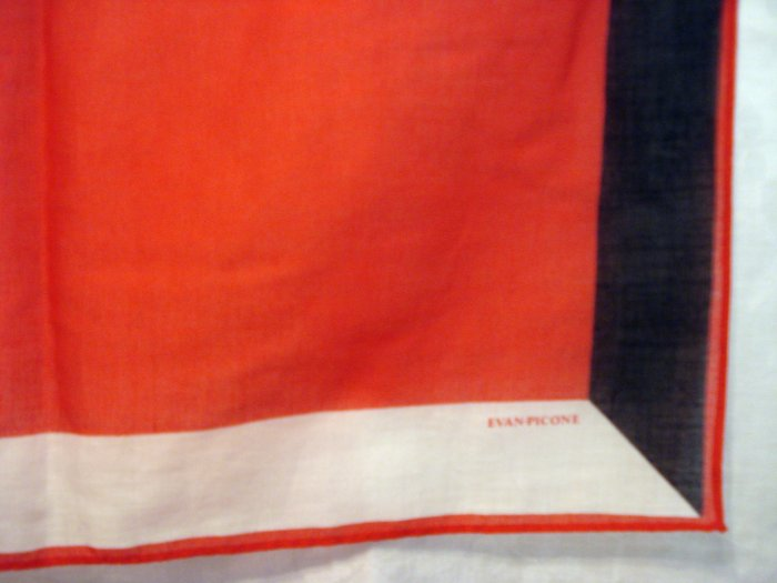 Evan Picone large airy cotton scarf or wrap red navy vintage ll2246