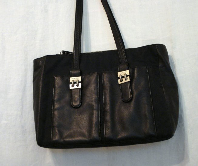 Marie Claire large zippered tote nylon faux leather black unused ll2254