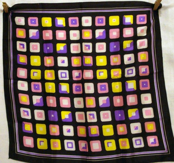 Pop art printed acetate scarf 1960s bright vintage ll2269