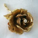 Boucher open rose pin brooch pearl center gold plate signed numbered exceptional vintage ll2308