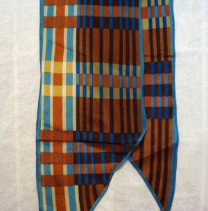 Vera bias cut long silk plaid scarf autumn colors vintage ll2311