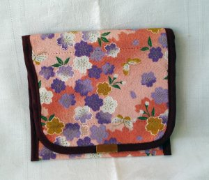 Travel fabric jewelry case or wallet Japanese print vintage ll2317