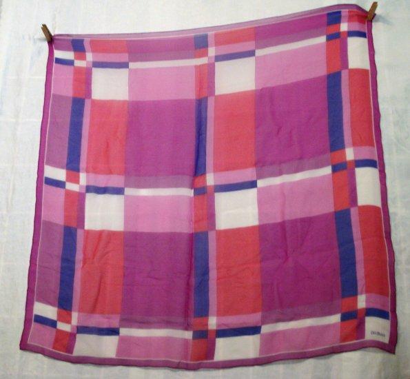 Bill Blass silk chiffon scarf pink purple plaid rolled hem large excellent vintage ll2333