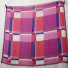 Bill Blass silk chiffon scarf pink purple plaid rolled hem large excellent vintage ll2333