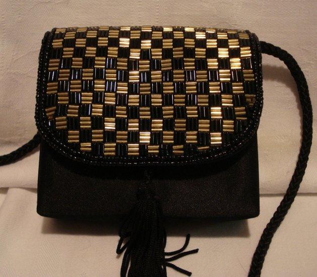 Black satin evening bag gold and black bugle beads rope strap unused vintage ll2334