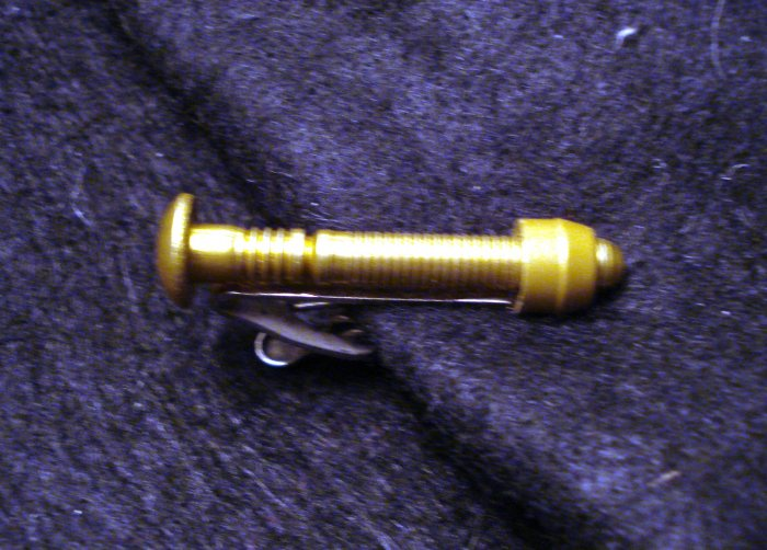 Nut and bolt tie pin or lapel clip gold tone vintage ll2341