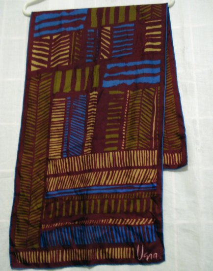 Vera large rectangle silk scarf tribal design rolled hem vintage ll2346
