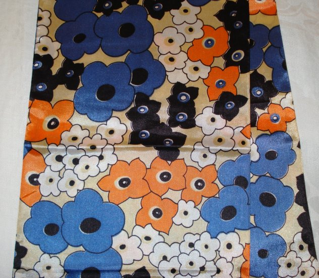 1960s Long acetate coat scarf or obi mod flower power vintage ll2353