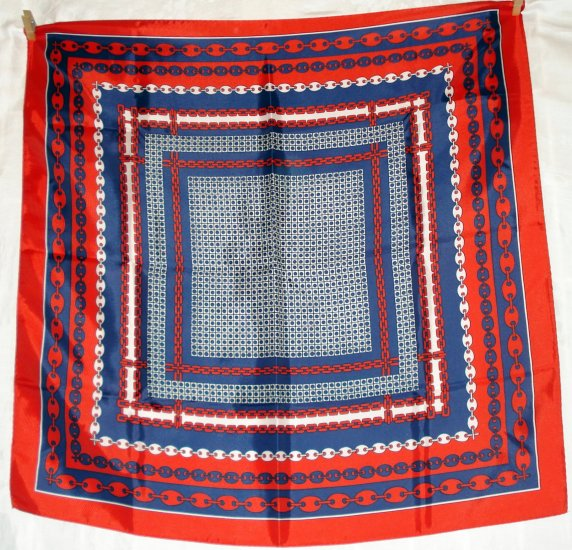 Red white blue chains and dots acetate scarf excellent vintage ll2362