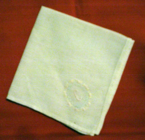 Embroidered linen hanky monogram C tiny handwork threadwork hem vintage ll2382