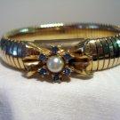 Elegant expansion bracelet gold tone, faux pearl sapphires excellent  vintage ll2385