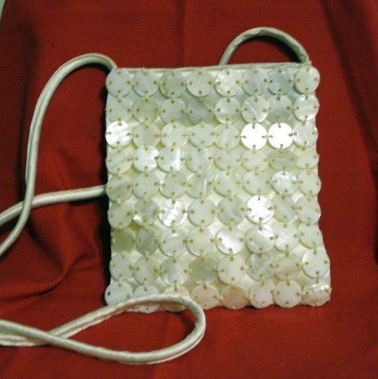 Jeanne Lottie mother of pearl discs white satin evening bag shoulder strap unused vintage ll2386