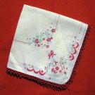 Antique printed linen hanky red tatted lace edge ll2393