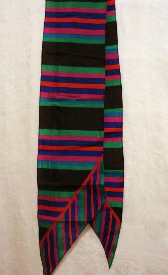 Liz Claiborne bias cut long silk scarf horizontal stripes unused vintage ll2397