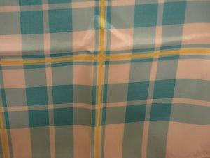 La Dear turquoise and aqua plaid scarf polyester unused vintage ll2399